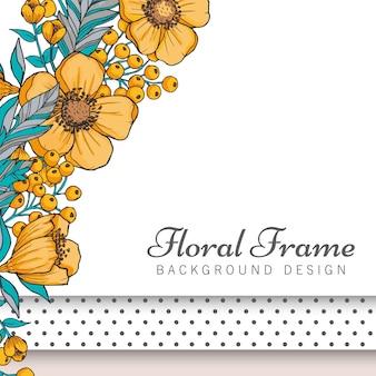 Flor de borde de dibujo - marco amarillo