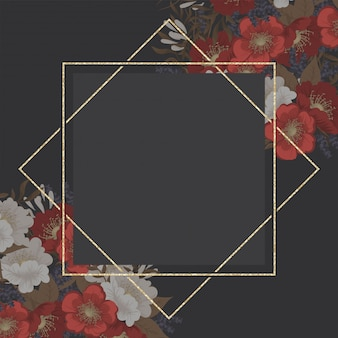 Flor de borde de dibujo - marco rojo