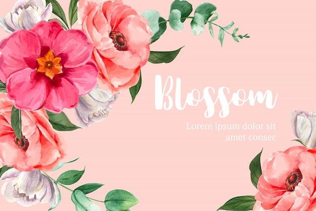 Flor botánica acuarela marco frontera florece