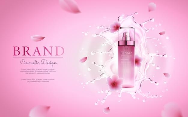 Flor de cerezo cosmética con salpicaduras de agua para la plantilla de cartel rosa promocional