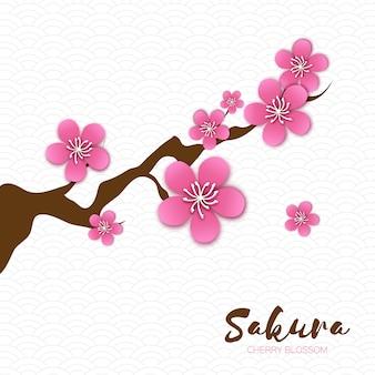 Flor de cerezo de primavera. rosa hermosa rama de sakura con flores de papercraft.