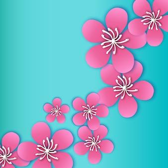 Flor de cerezo de primavera. rosa hermosa sakura con flores de papercraft.