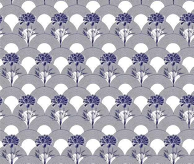 Flor de clavel moderna dibujada a mano con patrones sin fisuras de onda japonesa