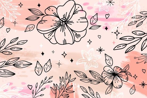Flor de contorno grande y hojas de fondo acuarela