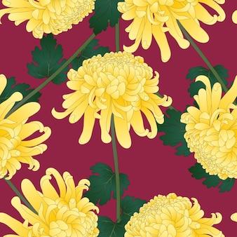 Flor de crisantemo amarillo sobre fondo violeta