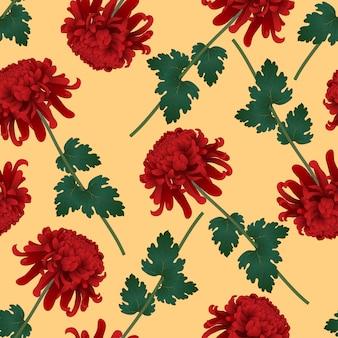 Flor de crisantemo rojo sobre fondo amarillo