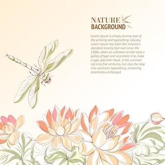 Flor de loto y libélula.
