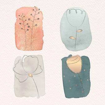 Flor de doodle en conjunto de textura de acuarela