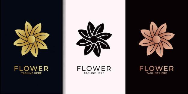 Flor elegante diseño de logotipo dorado