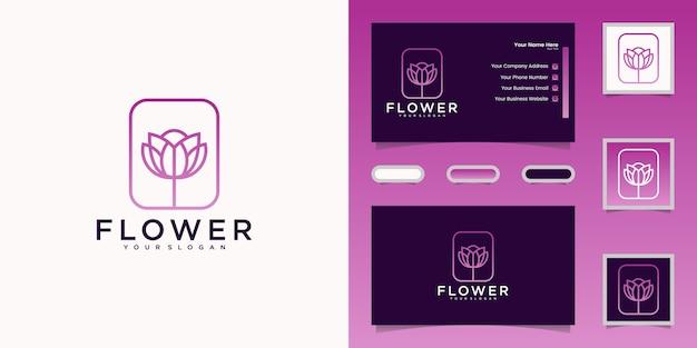 Flor elegante minimalista estilo de arte de línea rosa.diseño de logotipo y tarjeta de visita.