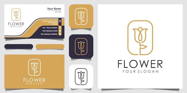 Flor elegante minimalista rosa belleza con estilo cuadrado. conjunto de diseño de logotipo y tarjeta de visita