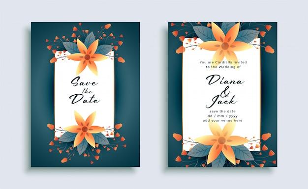 Flor elegante plantilla de invitación de boda elegante diseño