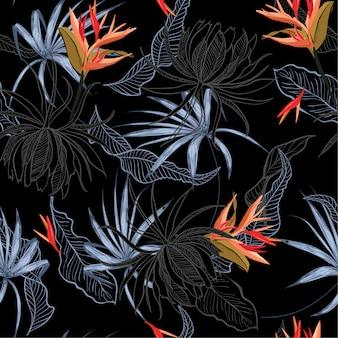 Flor exótica y hojas de patrones sin fisuras