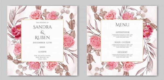 Flor de flor acuarela en invitación de boda y plantilla de menú