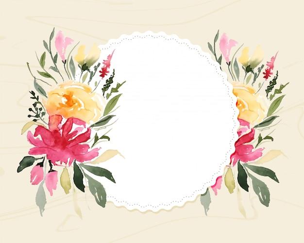 Flor floral acuarela en marco blanco con espacio de texto