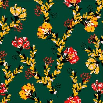 Flor floreciente de verano en mezcla de humor de batik afican con patrones sin fisuras de flores de jardín diluido