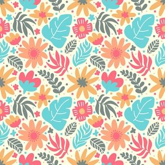 Flor y follaje colorido doodle de patrones sin fisuras