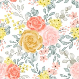 Flor de fondo de patrones sin fisuras rosa rosa, amarillo y naranja