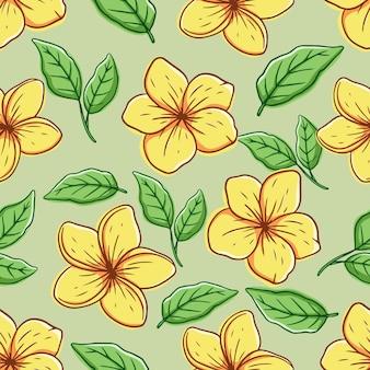 Flor de frangipani en patrones sin fisuras con estilo de dibujo a mano de color