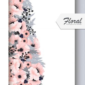 Flor fronteras vector flores de color rosa