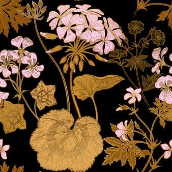 Flor de geranio. patrón floral transparente.