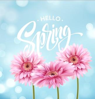 Flor de gerbera y hola letras de primavera.