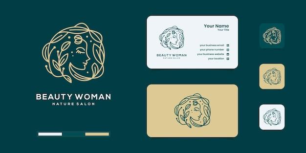 Flor hermosa de la cara de la mujer con la inspiración del concepto del diseño abstracto del logotipo del estilo del arte de línea