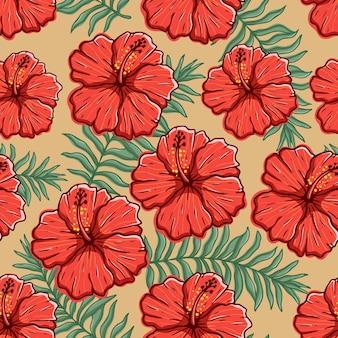 Flor de hibisco de colores en patrones sin fisuras con estilo de dibujo a mano