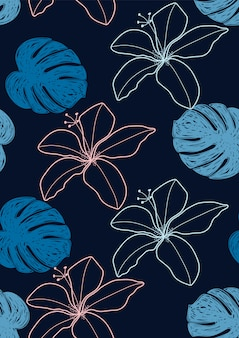 Flor de hibisco y hojas tropicales de patrones sin fisuras