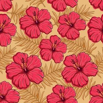 Flor de hibisco de patrones sin fisuras con estilo de dibujo a mano de color