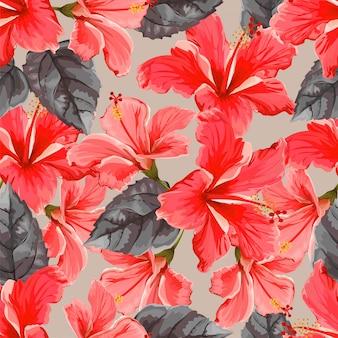 Flor de hibisco de patrones sin fisuras
