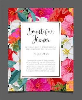 Flor de hibisco y plumeria en ilustración de tarjeta