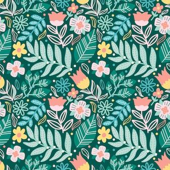 Flor y hojas de patrones sin fisuras doodle colorido