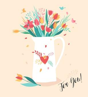Flor en la jarra. ramo de flores en la cafetera blanca. ilustración de tendencia en el fondo rosa.