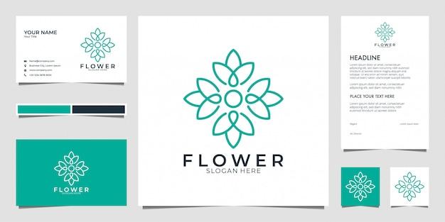 Flor, logotipo de geometría de loto. los logotipos se pueden utilizar para spa, salón de belleza, decoración, boutique. y tarjeta de visita