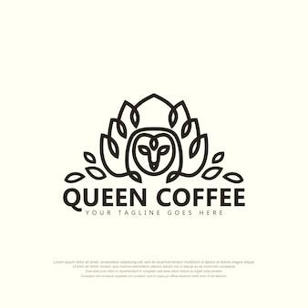 Flor de loto de corona de búho abstracto con diseño de plantilla de ilustración de vector de logotipo simple