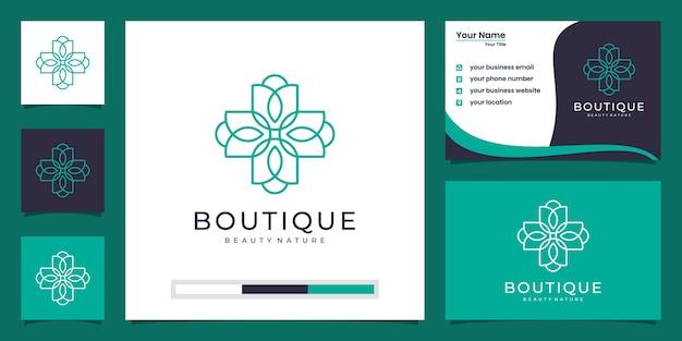 La flor de loto femenina y las mujeres enfrentan el logotipo del símbolo natural y la tarjeta de visita
