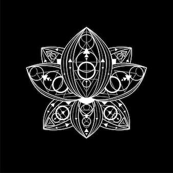 Flor de loto con ilustración de adornos geométricos