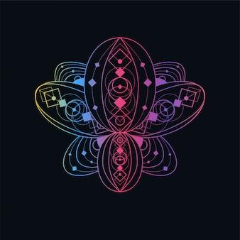 Flor de loto con ilustración lineal geométrica