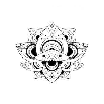 Flor de loto con ilustración lineal de ornamento geométrico