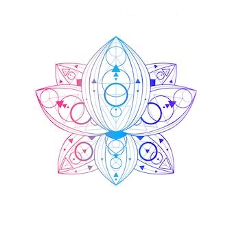 Flor de loto con ilustración lineal de patrón geométrico