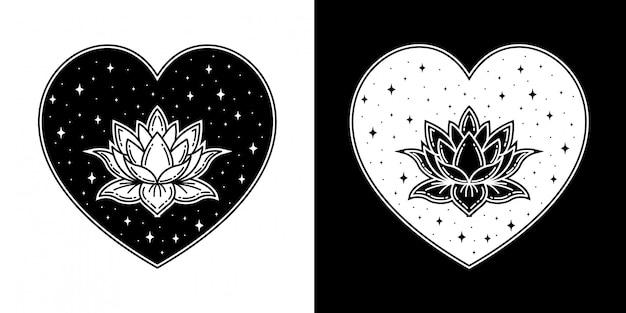 Flor de loto con insignia de amor monoline design