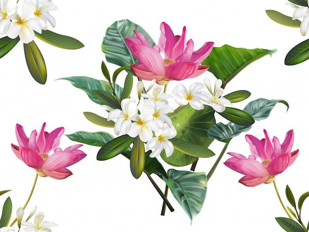 Flor de loto y plumeria de patrones sin fisuras