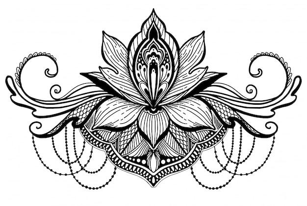 Flor de loto símbolo étnico