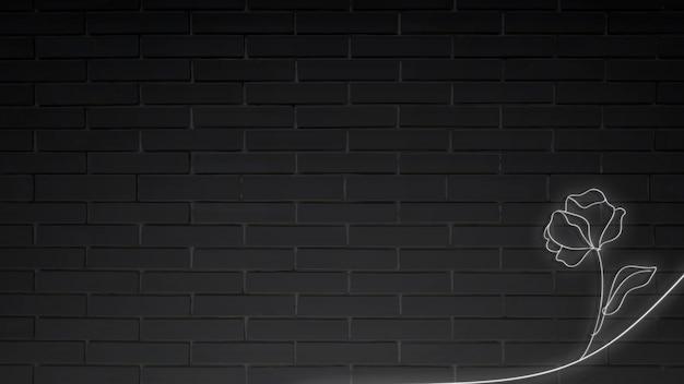 Flor de luces de neón en vector de pared de ladrillo negro