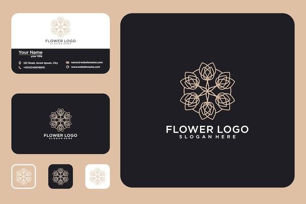 Flor de lujo con diseño de logotipo de estilo de línea y tarjeta de visita.