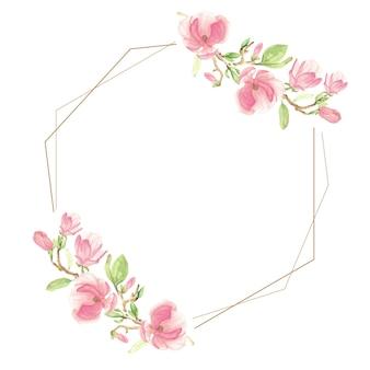 Flor de magnolia floreciente rosa acuarela y marco geométrico de rama