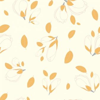 Flor de magnolia de patrones sin fisuras