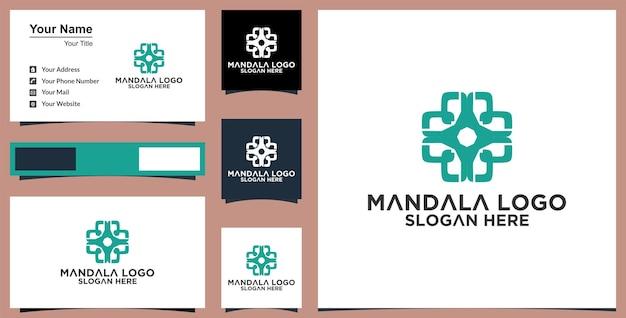 Flor mandala ornamento vector icono diseño de logotipo
