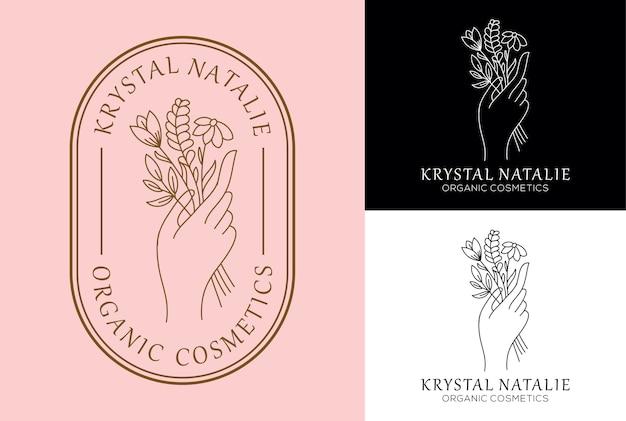 Flor de mano diseño de logotipo femenino